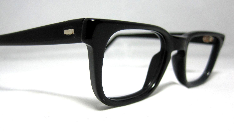 fd89f87cc2 Vintage 50s Mens EyeGlasses. Black Horn Rim Mad Men Frames Glasses ...