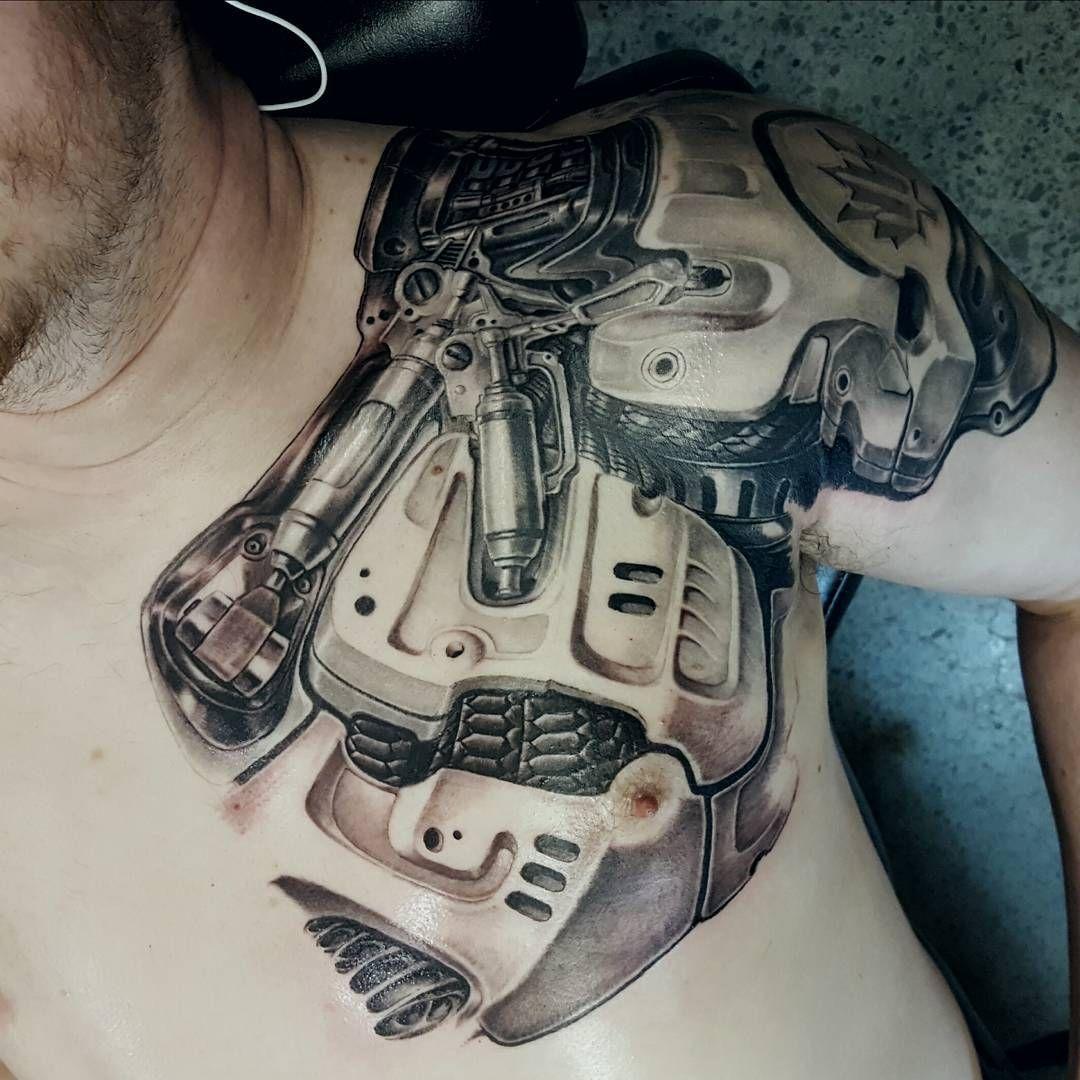 Robot Tattoo by kevinvproulx Biomechanical tattoo