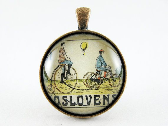 Postage Stamp Pendant / Old World Cyclists / by OhThePost on Etsy