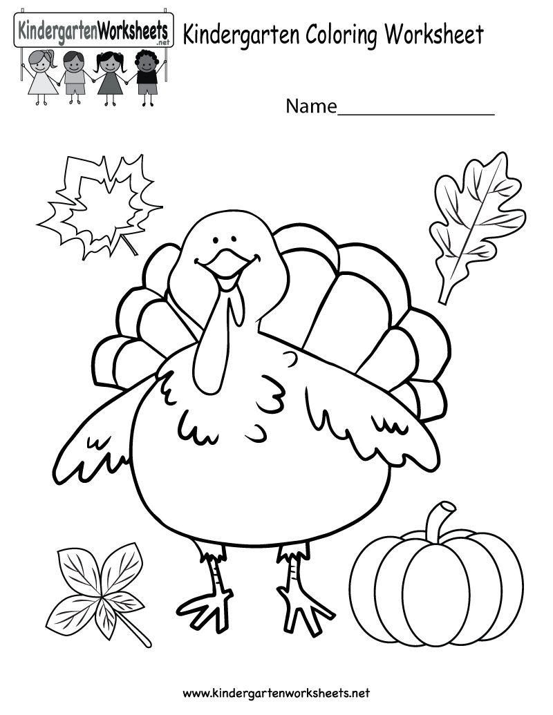 Kindergarten Thanksgiving Coloring Worksheet Printable