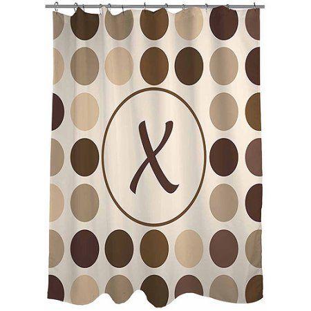 Thumbprintz Dots Monogram Shower Curtain, Neutral, Assorted
