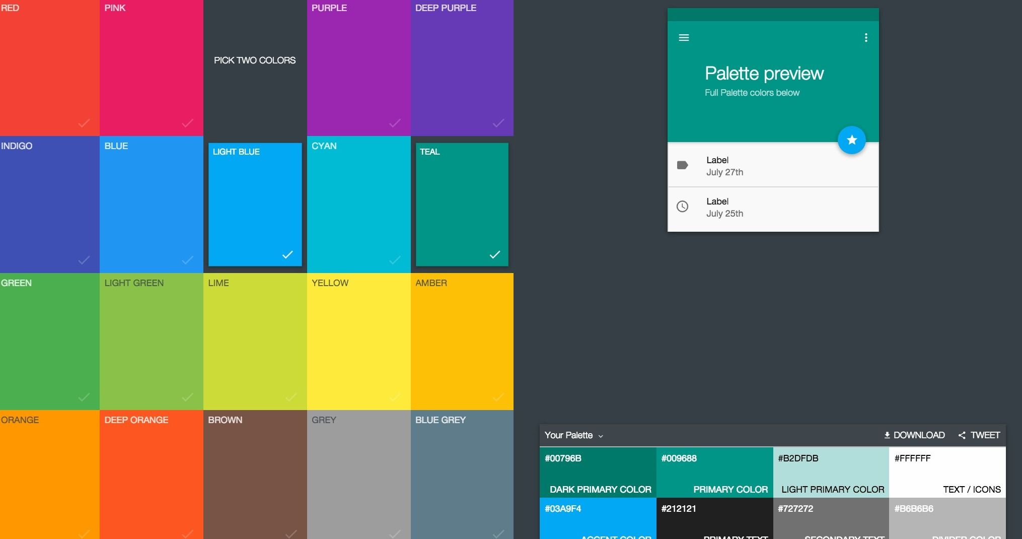 Material Design Color Palette Generator - Choose a couple main colors, and  generate a basic