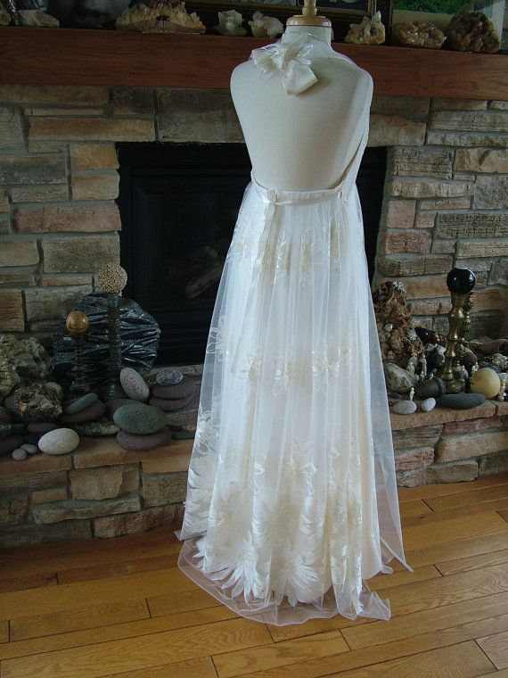 Handmade Wedding dress bohemian chic hippie fairy halter bridal gown ...