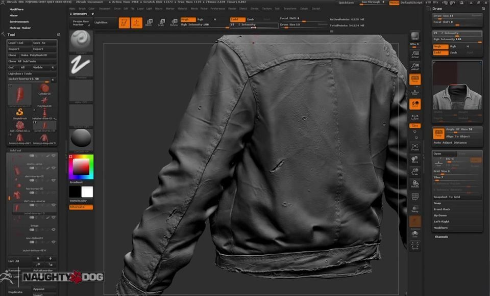 Character Design Zbrush Tutorial : Zbrush character modeling for the last of us folds cloth