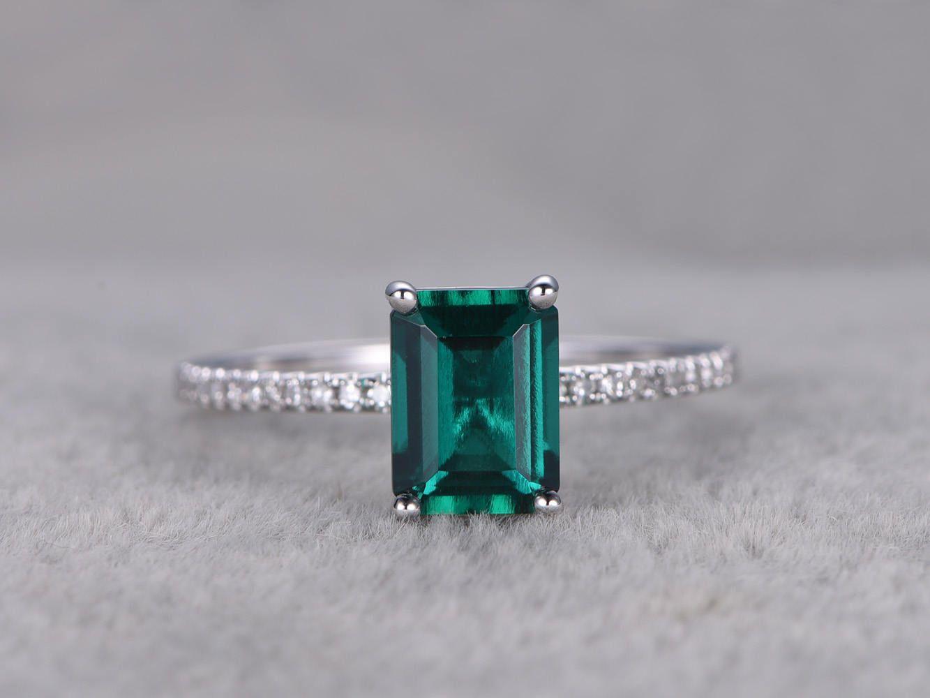 6x8mm Emerald Engagement ring White gold,Diamond wedding band,14k,Emerelad Cut Treated Emerald,Green Gemstone Promise Ring,Bridal Ring,Prong by popRing on Etsy