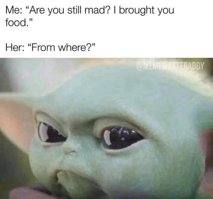 Baby Yoda Brought You Food Yoda Funny Funny Relatable Memes Yoda