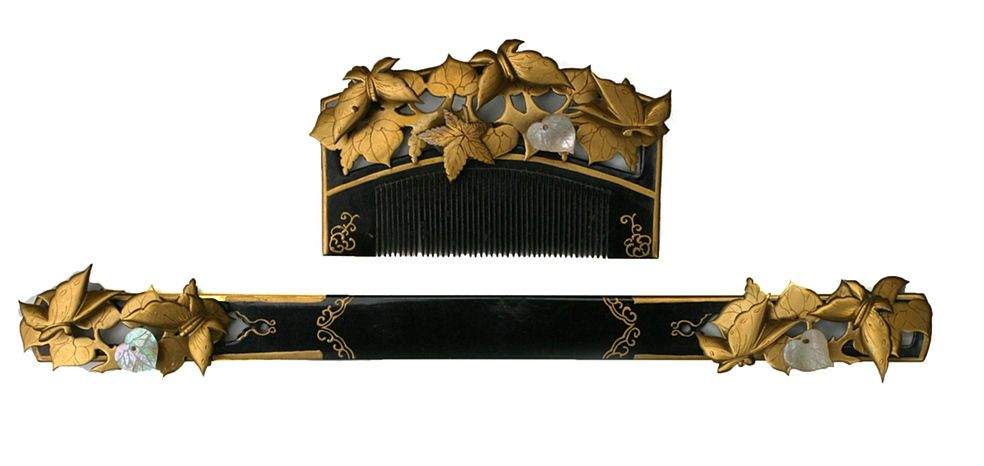 Antique lacquer, horn and mother of pearl hand carved hair comb set from Japan.