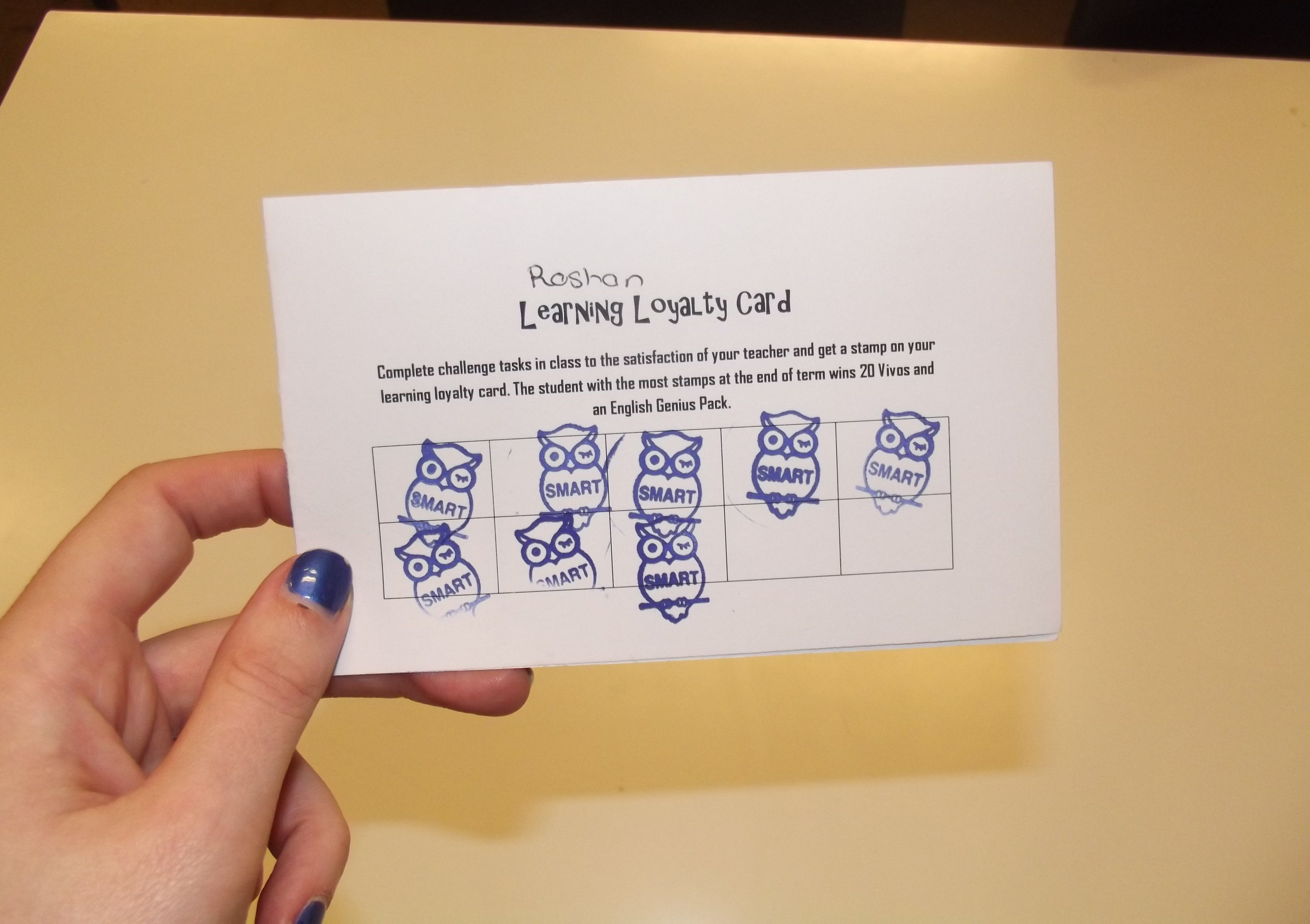 A Learning Loyalty Card I Created Each Time The Students