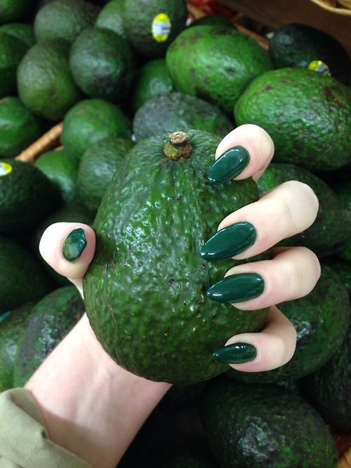 My favorite green. Put a little metallic sparkle on those nails and the color is perfect. Not the shape though.