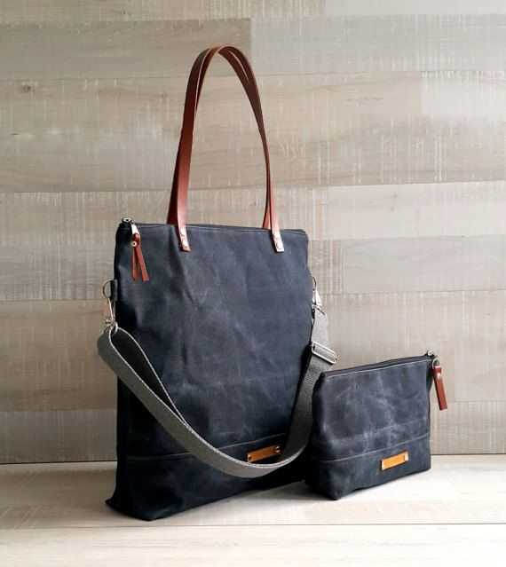 Waxed Canvas Tote Bag Uni Charcoal Black Waterproof Leather Straps Women Men Laptop