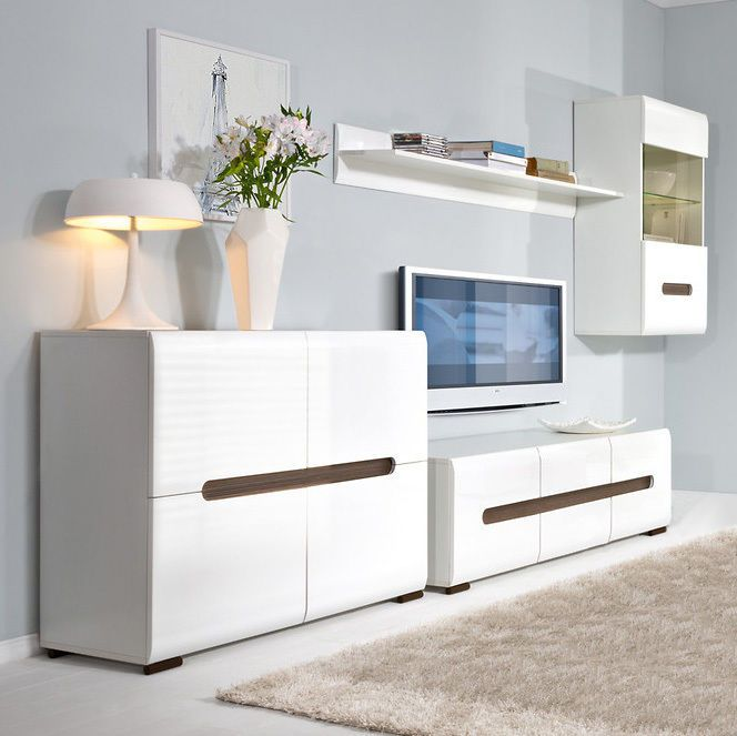 High Gloss White Living Room Furniture Set With Lights New Tv Stand Azteca Furniture Living Room Furniture New Living Room