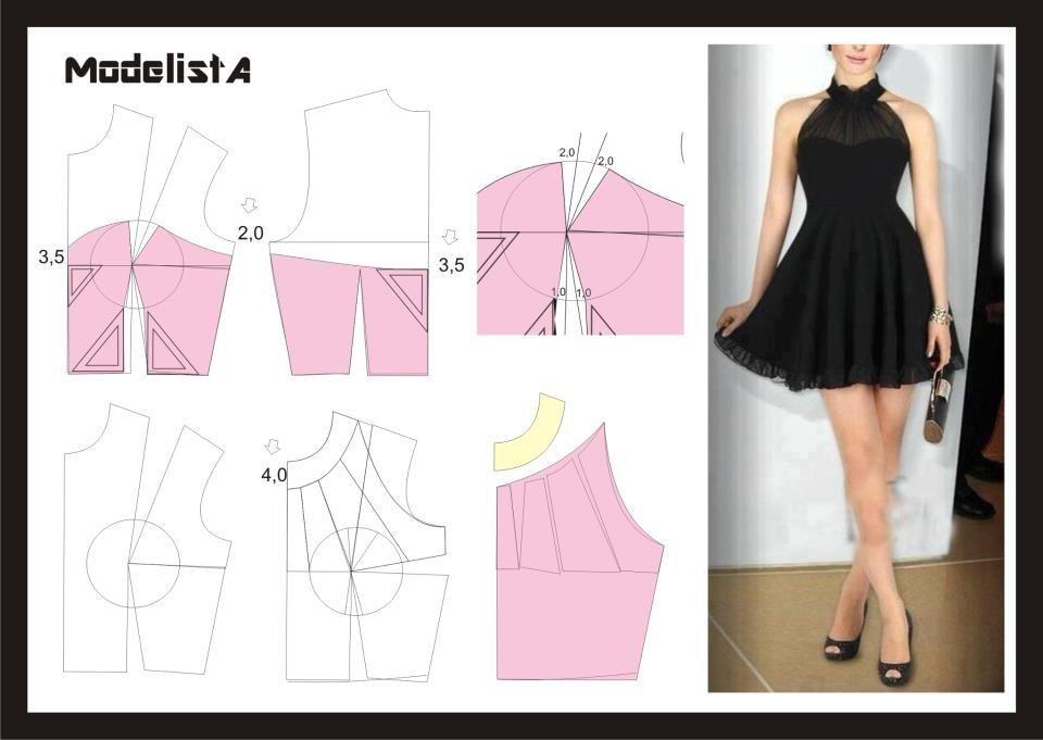 diy little black dress free sewing pattern draft divat. Black Bedroom Furniture Sets. Home Design Ideas