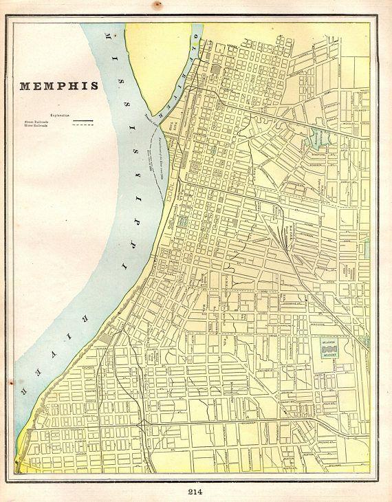 1900 antique memphis tennessee map vintage memphis city map