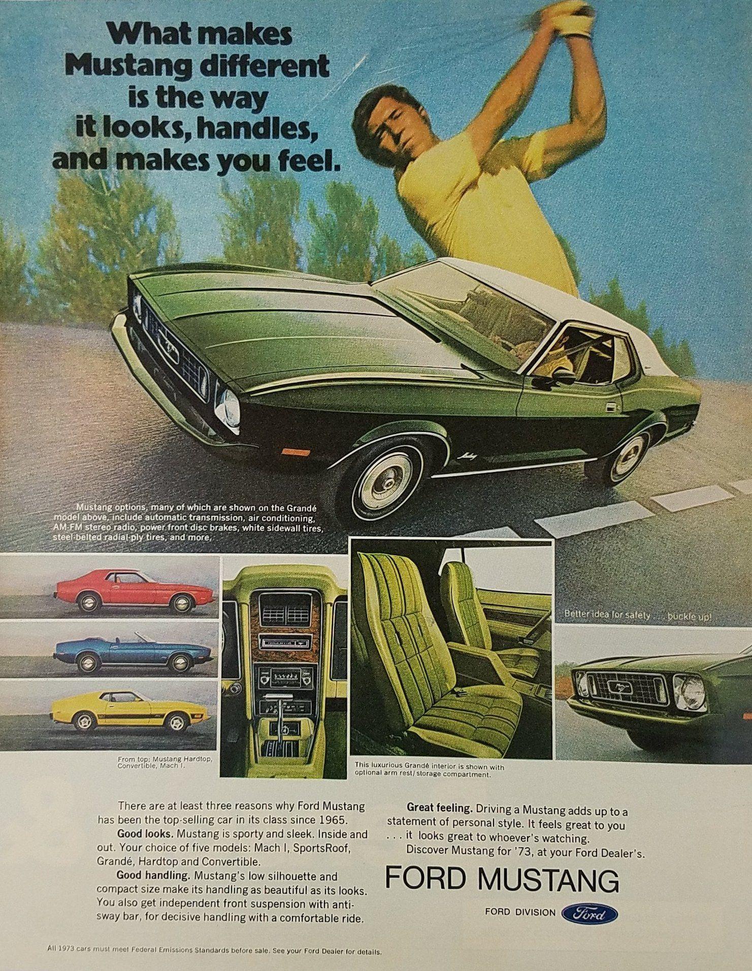 1972 ford mustang grande vintage ad golfer swinging club