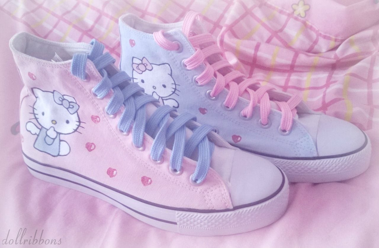 """dollribbons: """"My new Hello Kitty converse type shoes are"""