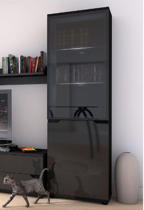 High Gloss Tall Display Cabinet Black