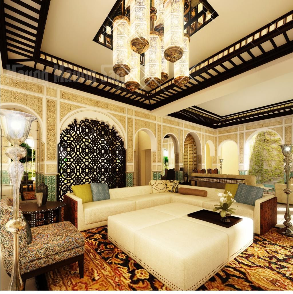 Moroccan style decor with a grey sofa
