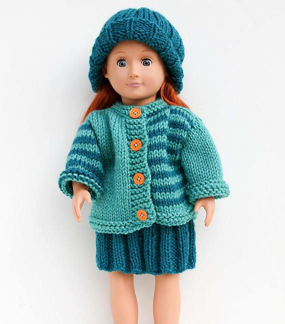 Hand Knit Three-Piece Set for 18 Inch Fashion Doll in Teal | My Shop ...