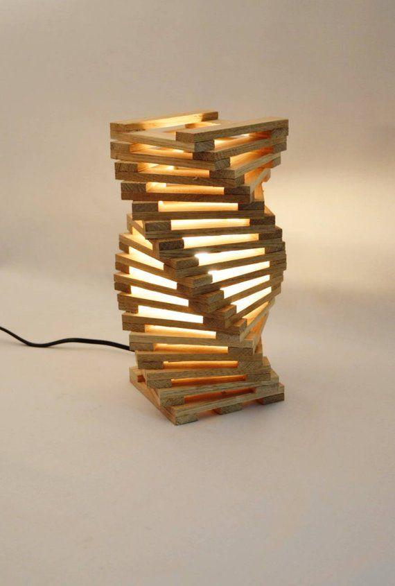 Design table lamp in oak wood, twisted modern desk lamp