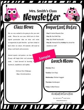 rock star owl free editable newsletter templates - Free Editable Newsletter Templates