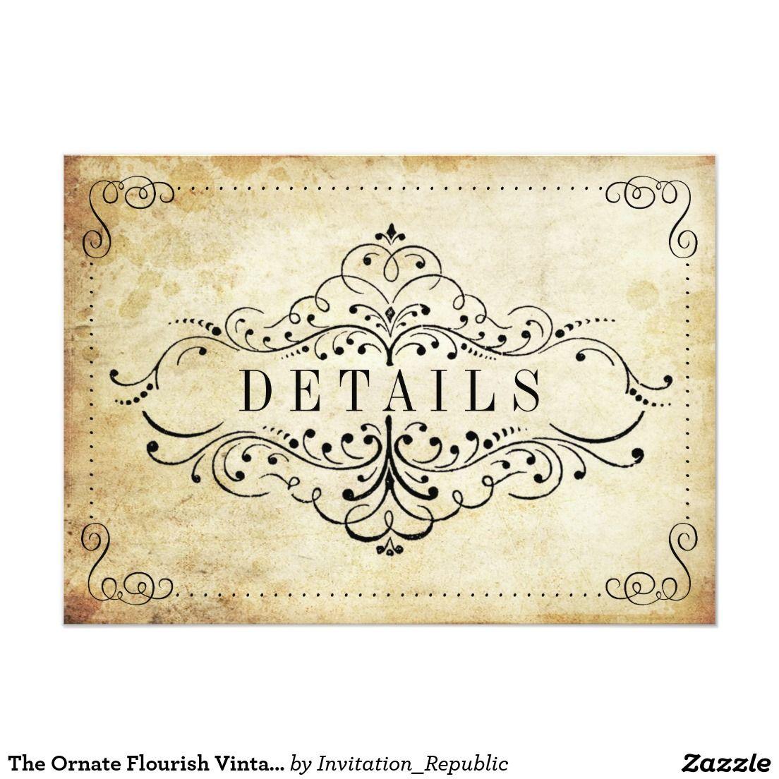 The Ornate Flourish Vintage Wedding Collection Card | Vintage ...