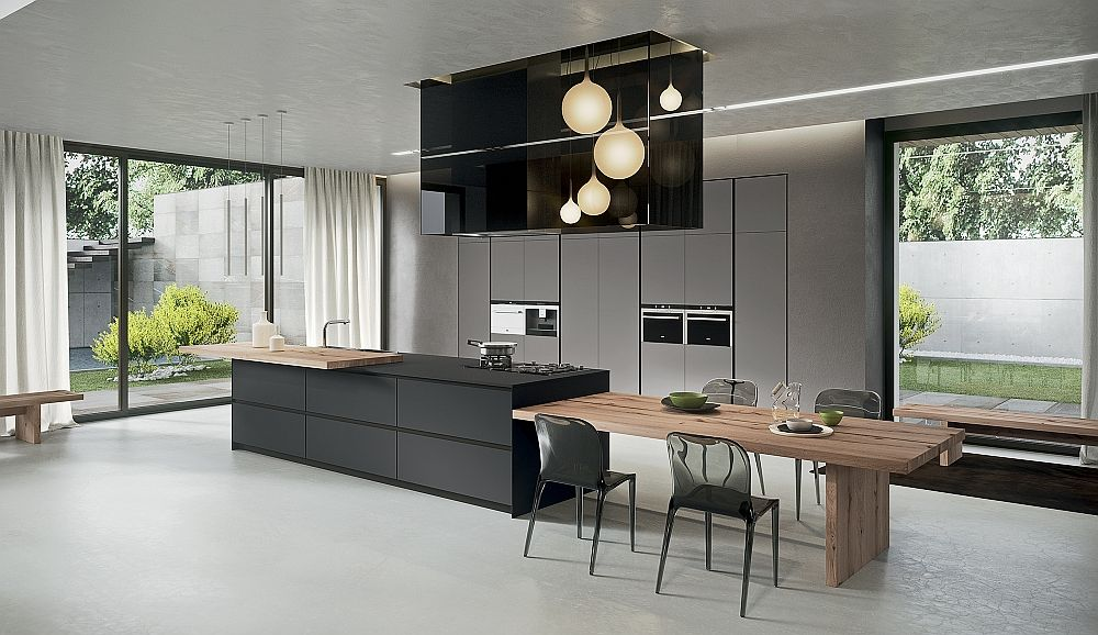 Kitchen Island That Offers An Extended Dining Table In Wood Sophisticated Contemporary Kitchens With Cutting Edge