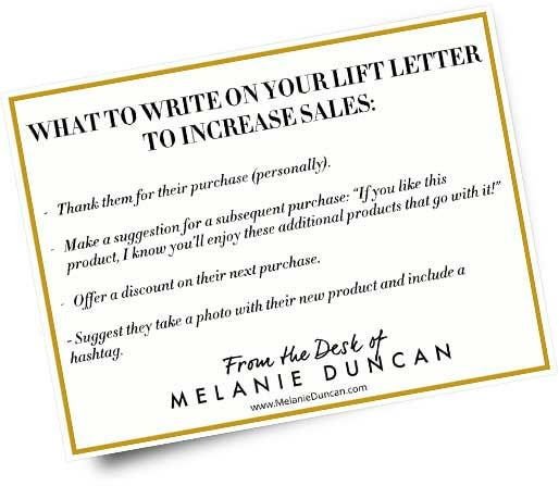 3 Great Ways to Get Your Customers to Buy More - Melanie - letter to purchase