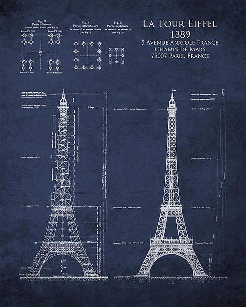 Eiffel tower architectural blueprint art print by sara h tower eiffel tower architectural blueprint art print by sara h malvernweather Image collections