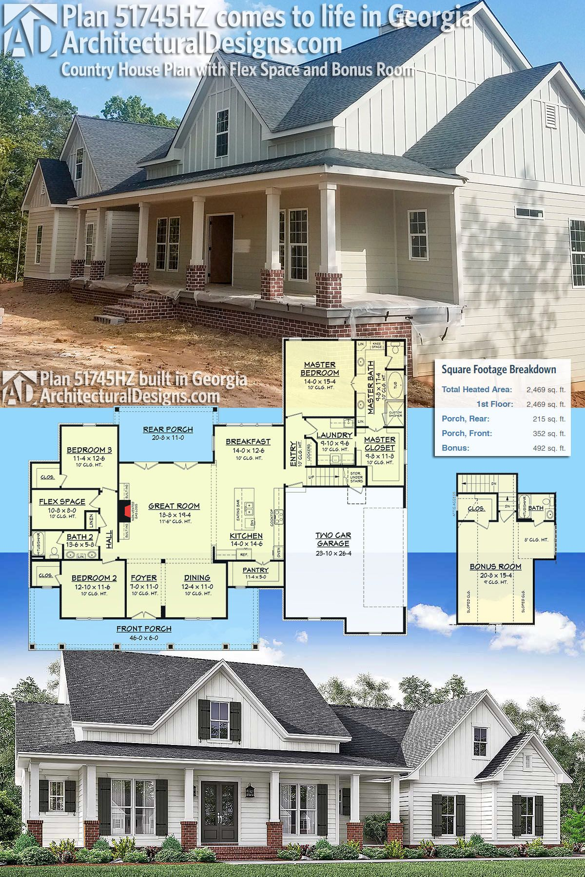 plan 51745hz country house plan with flex space and bonus room