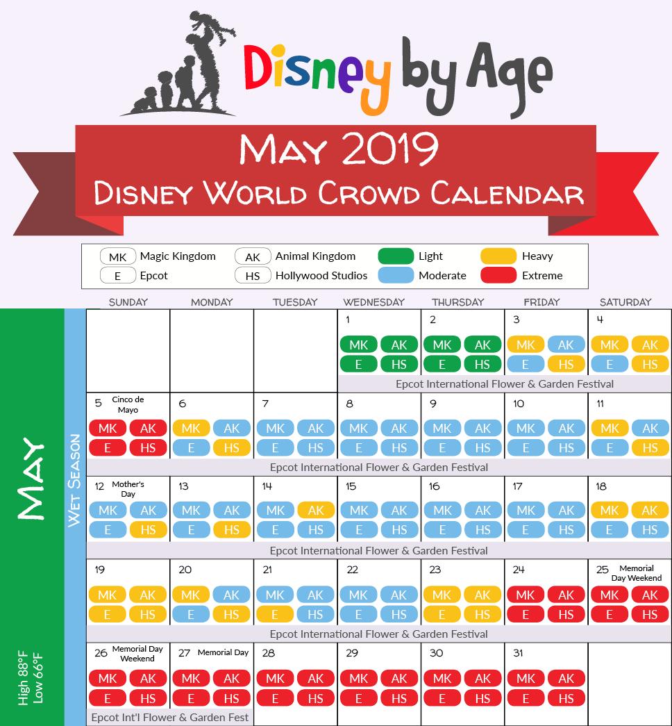 2019 Disneyland Calendar May 2019 Disney World Crowd Calendar | Disney Vacation in 2019