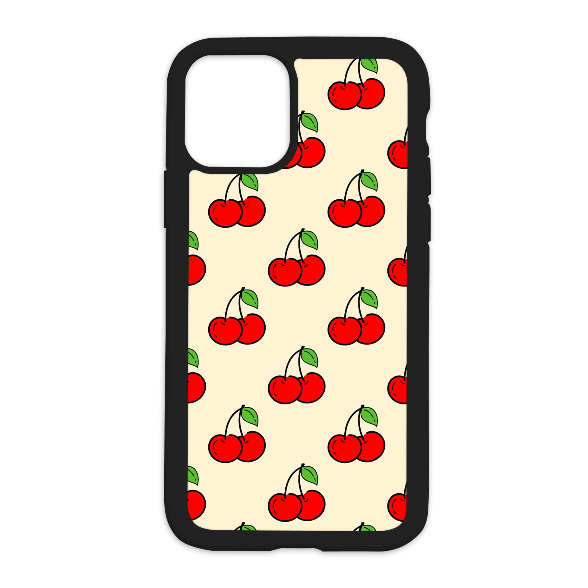 Cherry Pattern Design On Black Phone Case - 6/6s+ / Yellow