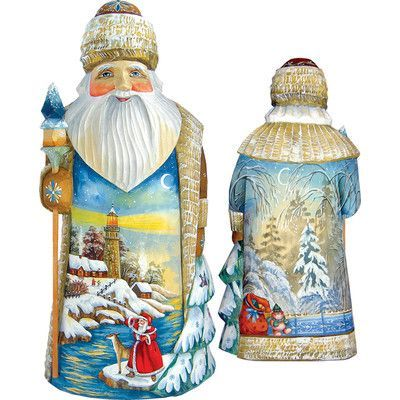 G Debrekht Masterpiece Signature Winter Beacon Santa Figurine Santa Figurines Painting Style Figurines