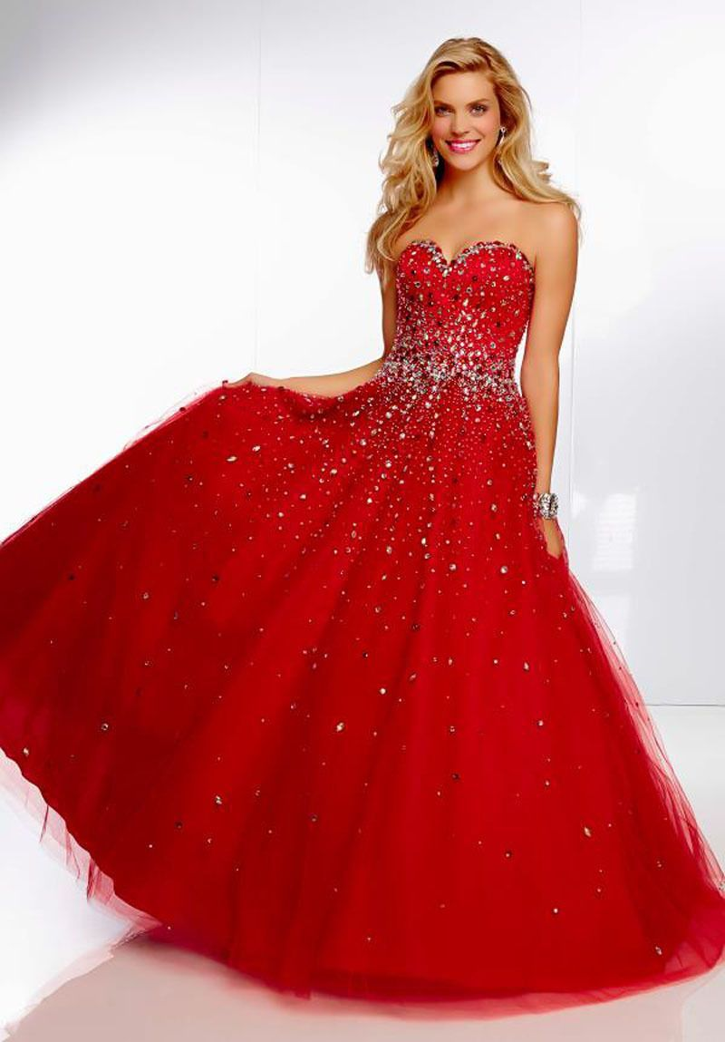 Mz ball gown hot red tulle crystals diamonds sweetheart