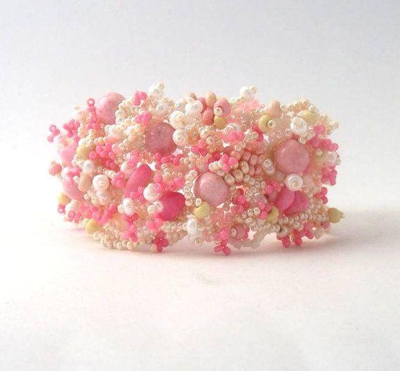 Pink Beaded Bracelet, Beadwork Bracelet, seed bead jewelry, freeform peyote bracelet, summer fashion via Etsy