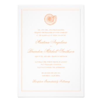 Classic peach and white wedding invitation featuring an antique sea shell illustration. Border is optional. (make sure to preview cropped design to see how the border will look when trimmed). Also available in more colors. http://www.zazzle.com/beckynimoy Corresponding RSVP Card Sea Shell Beach Wedding | Traditional RSVP Card by beckynimoy More Sea shell wedding rsvp Invitations #beach #wedding #beach #wedding #invitations #sea #shell #wedding #invitation #elegant #beach #wedding #invitation…
