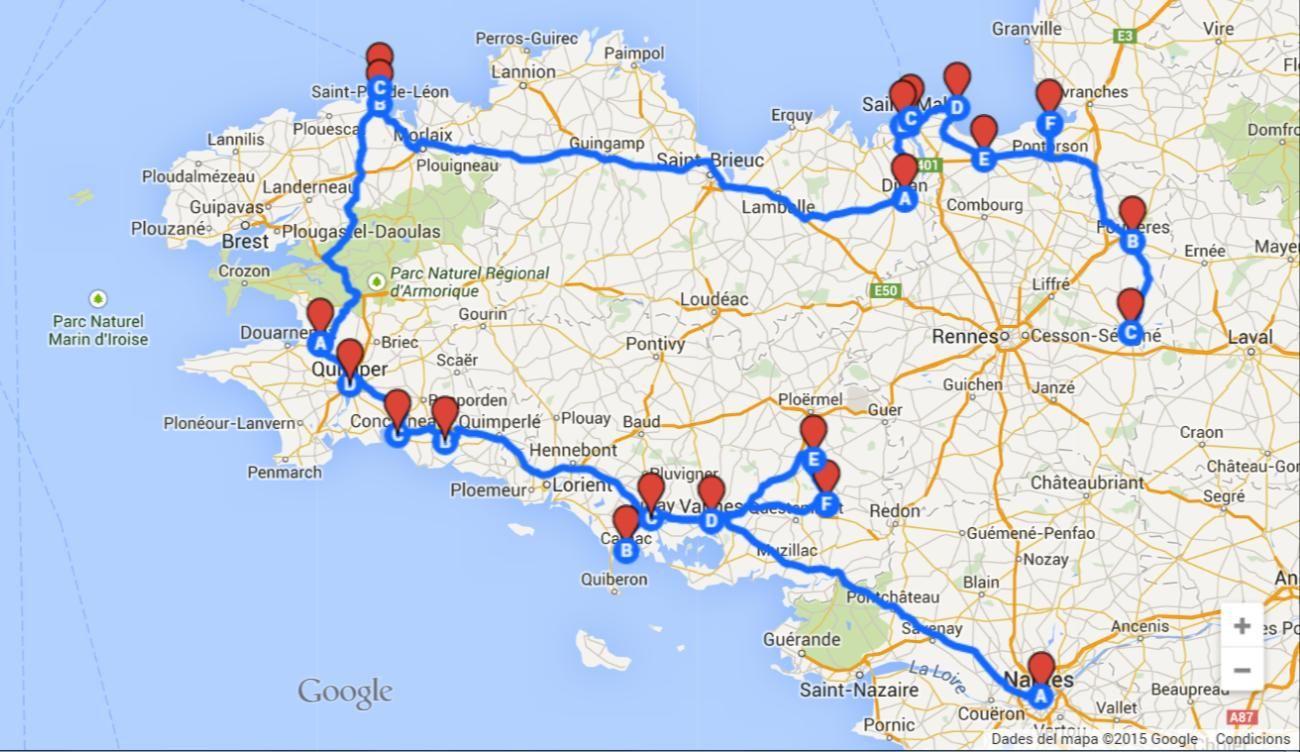 Bretaña Y Normandia Mapa.Bretana Francesa Rutas Que Ver Compras Restaurantes