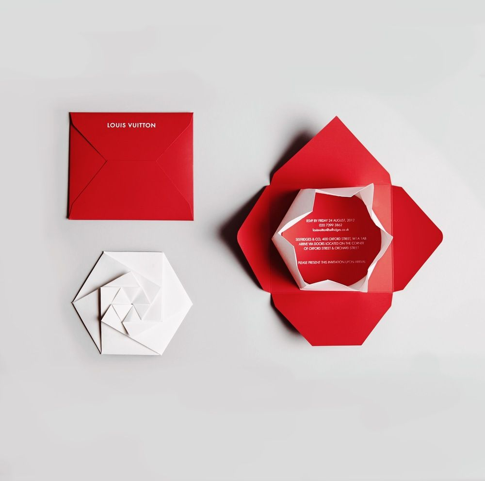 Caroline Popham Louis Vuitton Yayoi Kusama origami invitation design ...