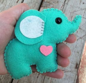 Wool felt elephant christmas ornament, keychain, mobile attachment, car mirror ornament, plush toy / stuffie – mint leaf