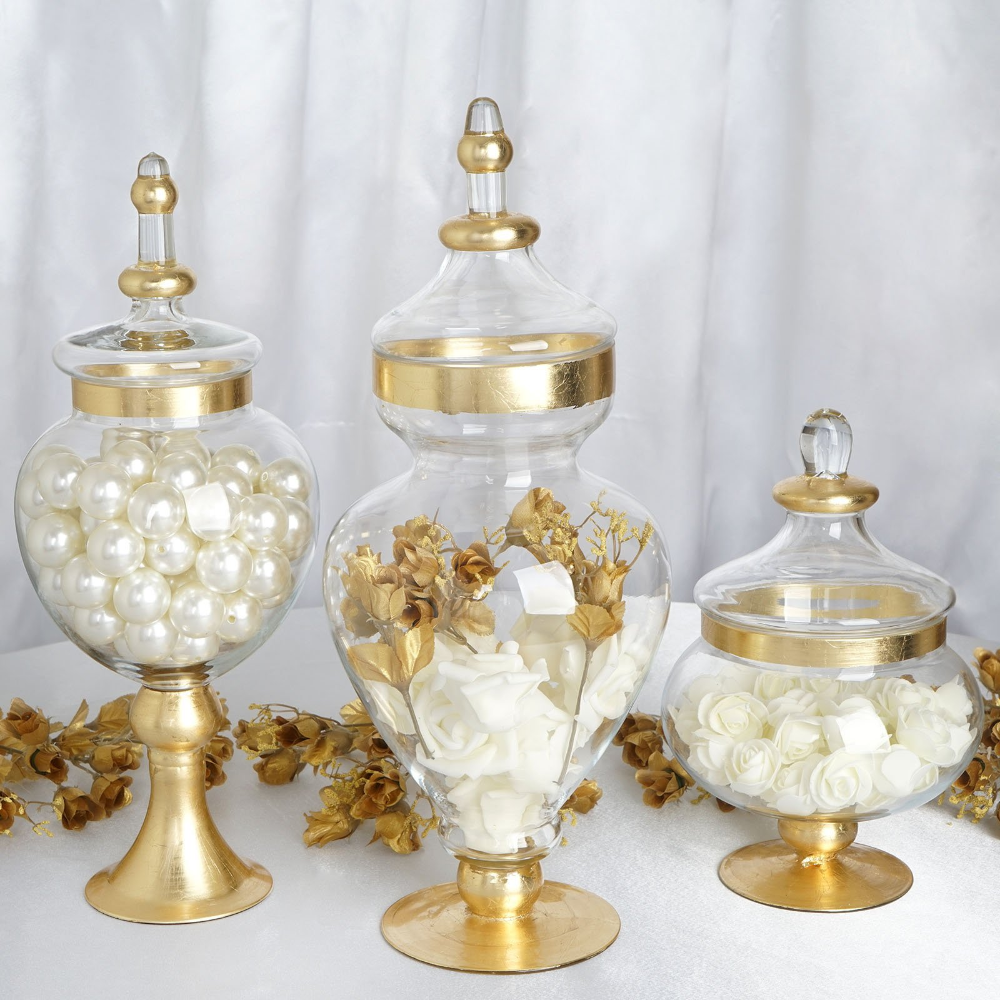 Set of 3 Gold Trimmed Glass Apothecary Candy Jars With Lids -10″/14″/16″