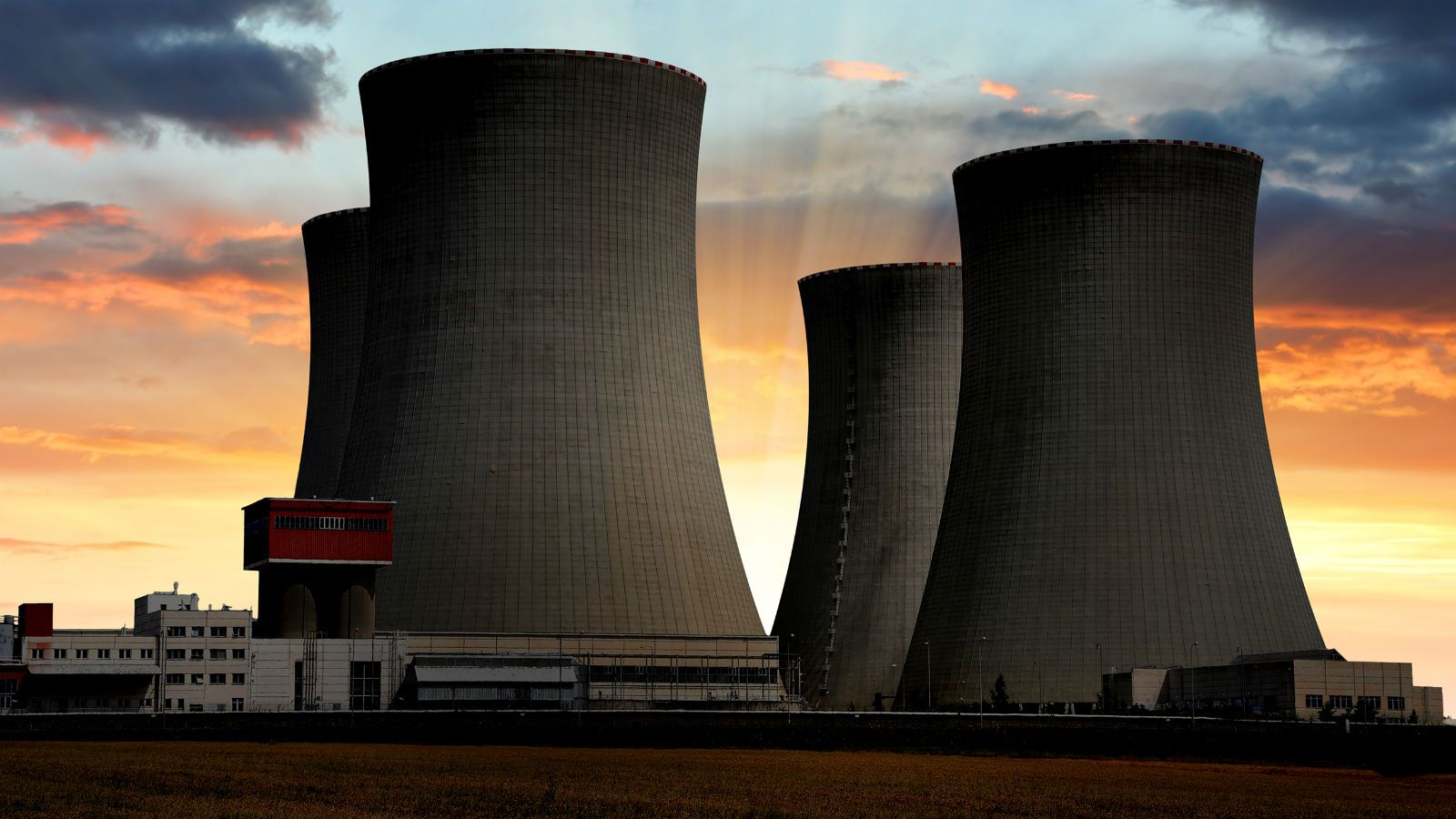 Quad Hyperbolic Cooling Towers At A Huge Electric Power Plant
