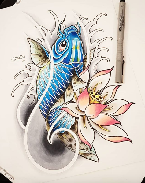 Neo Japanese Koi Lotus Japanese Koi Fish Tattoo Lotus Tattoo Design Japanese Tattoo Art