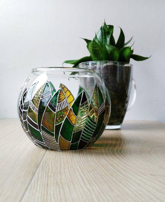 Modern green succulent planter pot, Sphere floral planter, Leaves modern planter #setinstains