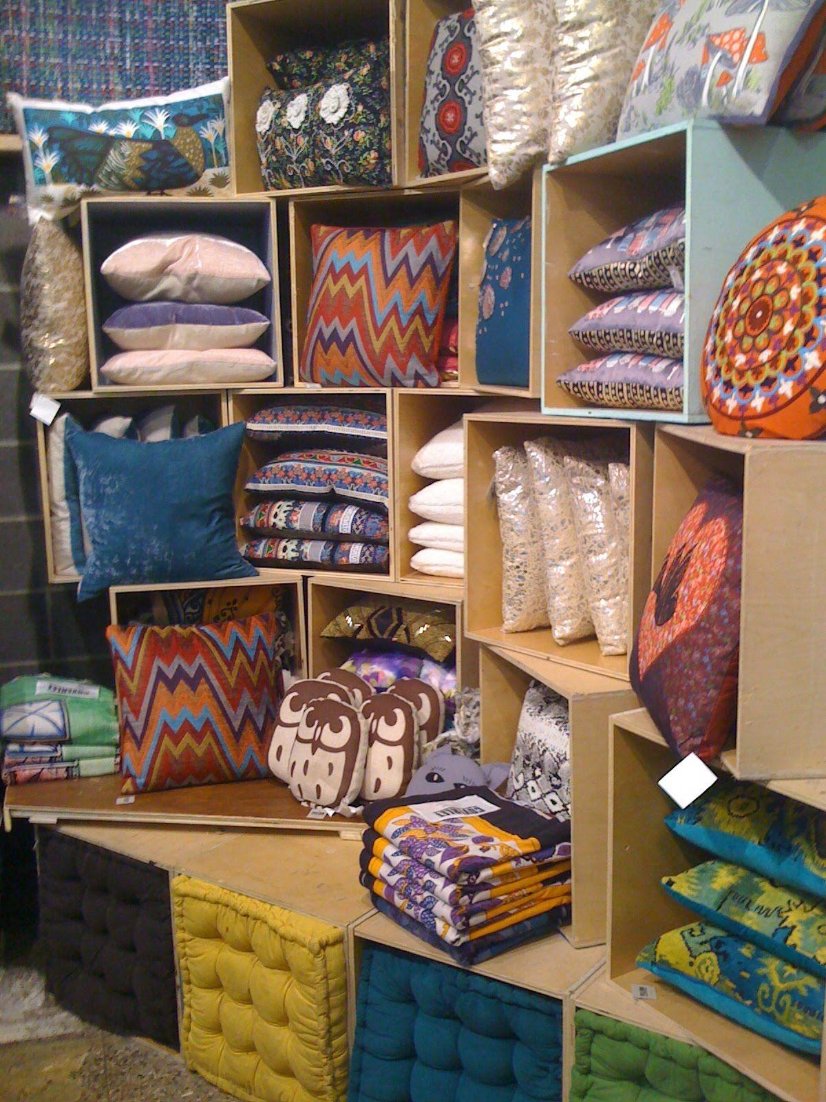 pillow display store display visual merchandising pillows retail shop displays craft fair. Black Bedroom Furniture Sets. Home Design Ideas