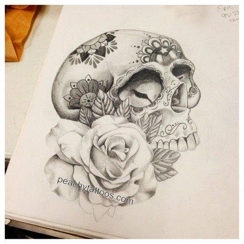 Sugar Skull Drawings With Roses Tumblr | www.pixshark.com ...