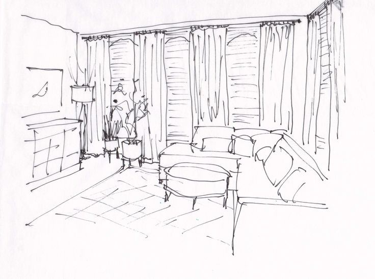 #designsketch  #livingroomideas  #walldecor #Design #Sketch #of  Design Sketch of living room for an email design consultation | Window treatments and furnishings suggested help complete this room. Carla Aston, Designer