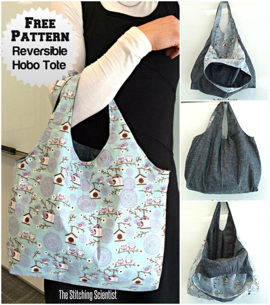 reversible hobo beginner bag pattern sewing and recycling pinterest taschen selber machen. Black Bedroom Furniture Sets. Home Design Ideas