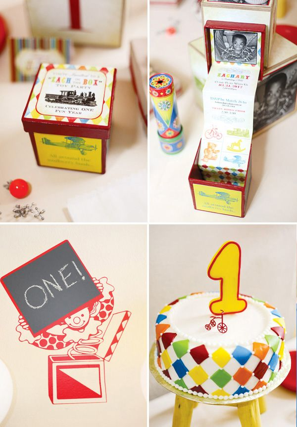 Nostalgic Vintage Toy First Birthday Party Hostess With The - Creative diy birthday invitations in a box