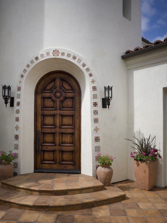 Superb Inspiration For Home Design With Santa Barbara Style: Fabulous  Mediterranean Entry Wood Door Santa