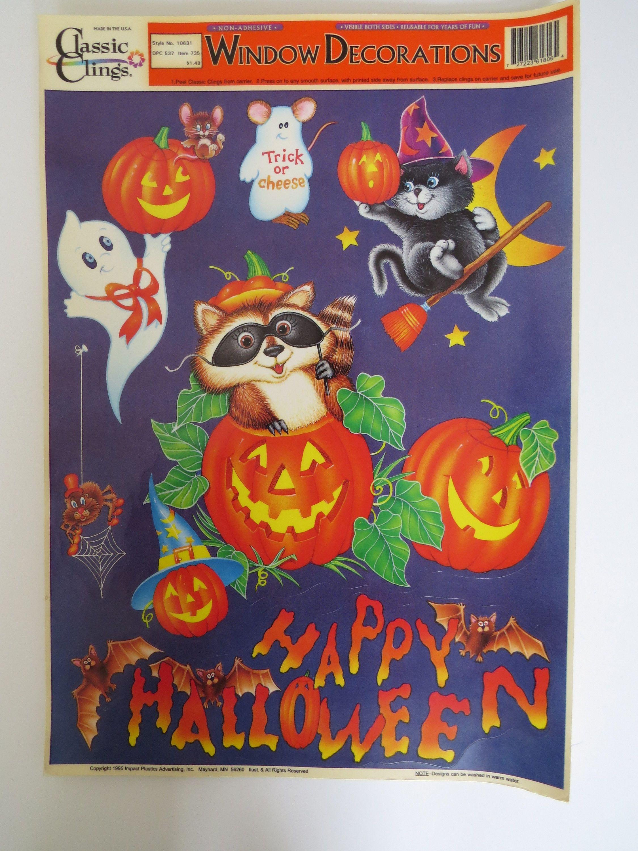 vintage halloween window clings - reuseable - black cat jack-o