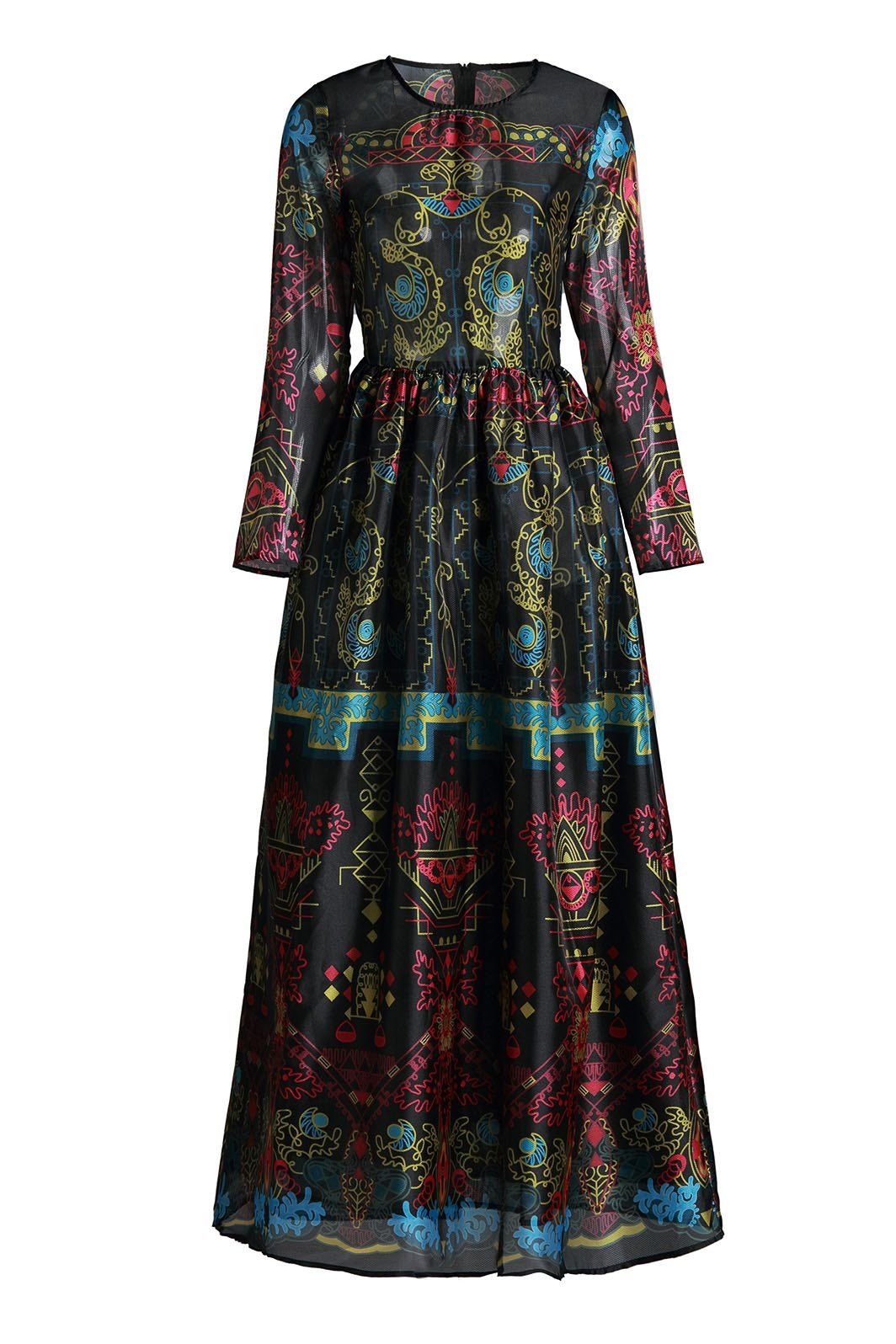 Elegant round neck long sleeve colorful vintage print womenus maxi